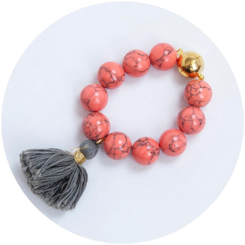 Coral Pink Howlite with Taupe Tassel Wine Glass Marker & Napkin Ring