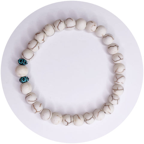 Mens White Magnesite with Verdigris Urchin Accents