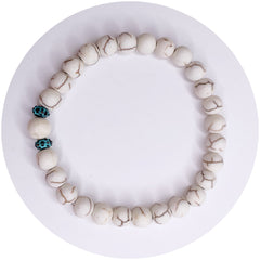 Mens White Magnesite with Verdigris Urchin Accents - Oriana Lamarca LLC