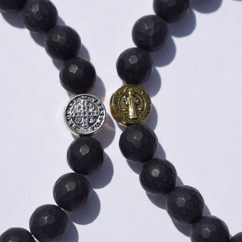 Mens Matte Black Onyx with Gold St Benedict