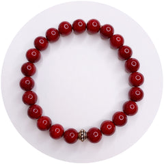Mens Red Riverstone with Antique Silver Accent