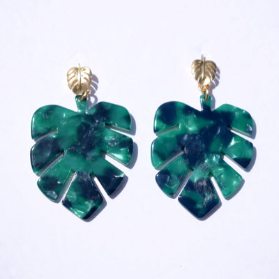 Isla Green Acrylic Palm Earrings