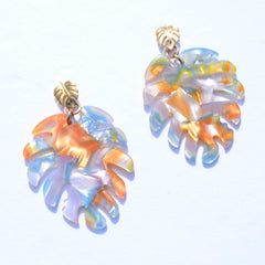 Isla Orange Acrylic Palm Earrings - Oriana Lamarca LLC