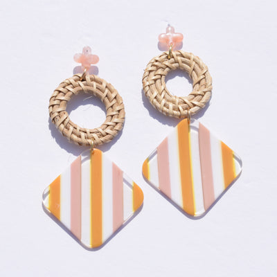 Kai Striped Acrylic & Raffia Earrings