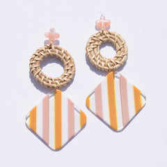 Kai Striped Acrylic & Raffia Earrings - Oriana Lamarca LLC