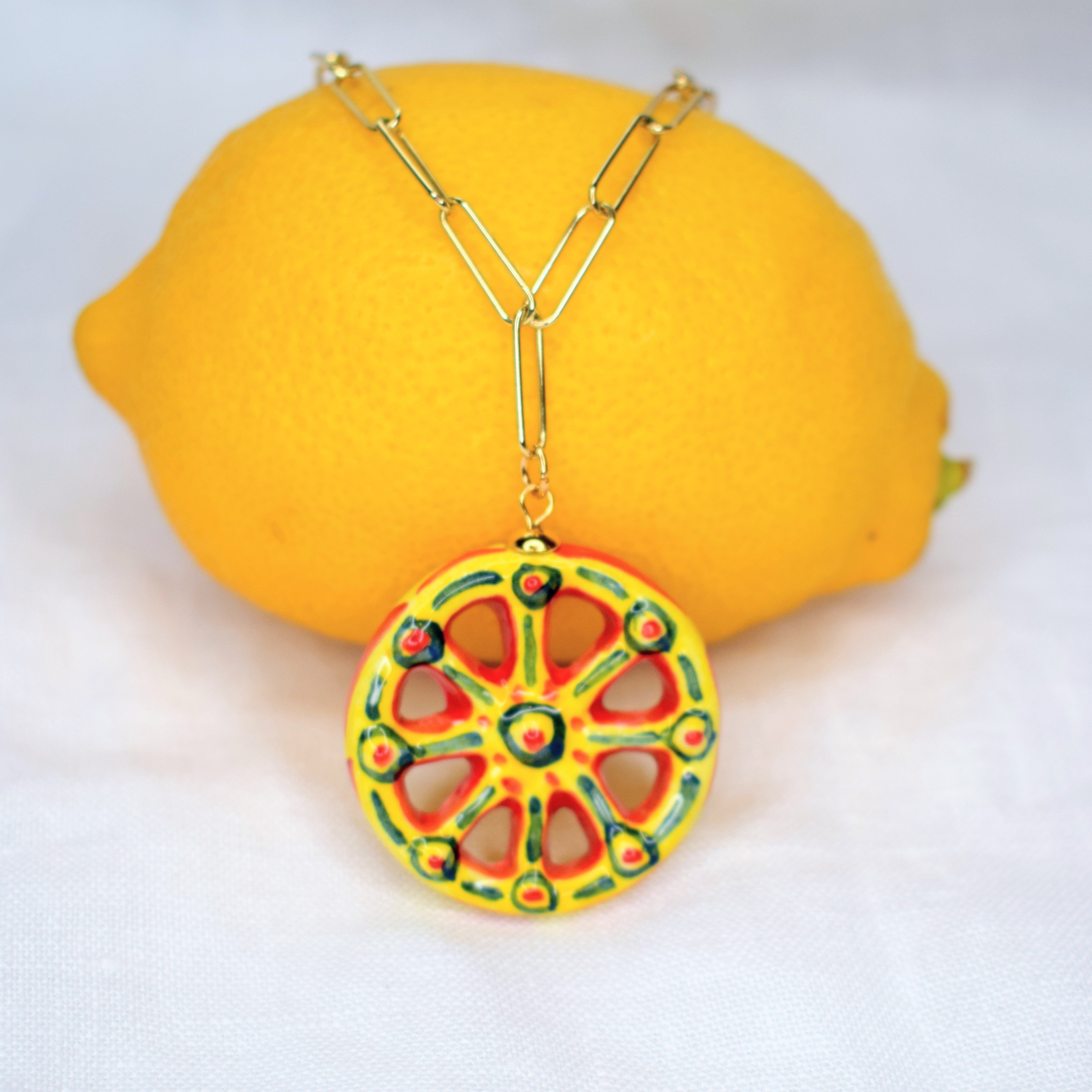 Sicilian Cart Wheel Necklace - Oriana Lamarca LLC