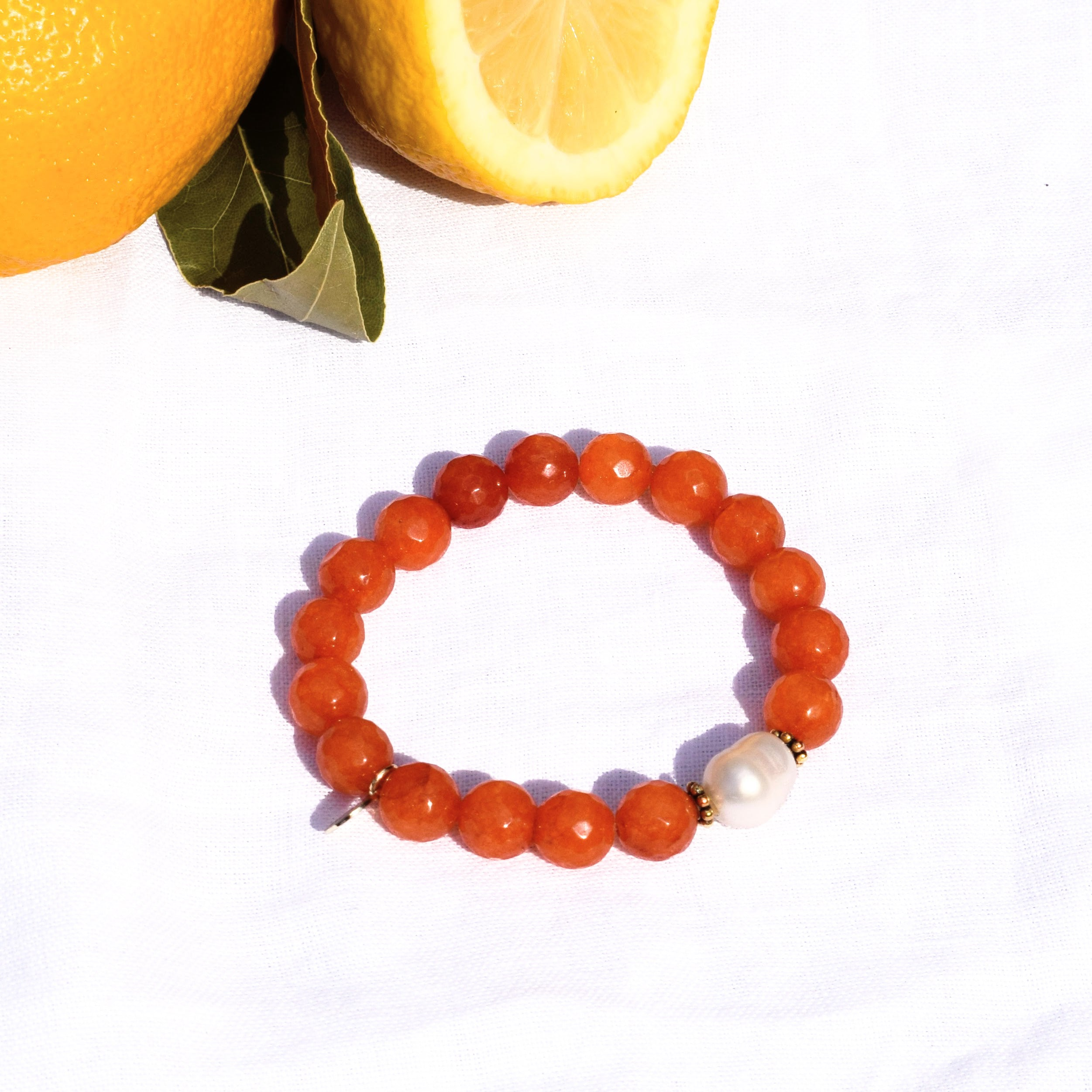 Orange Jade with Freshwater Pearl - Oriana Lamarca LLC