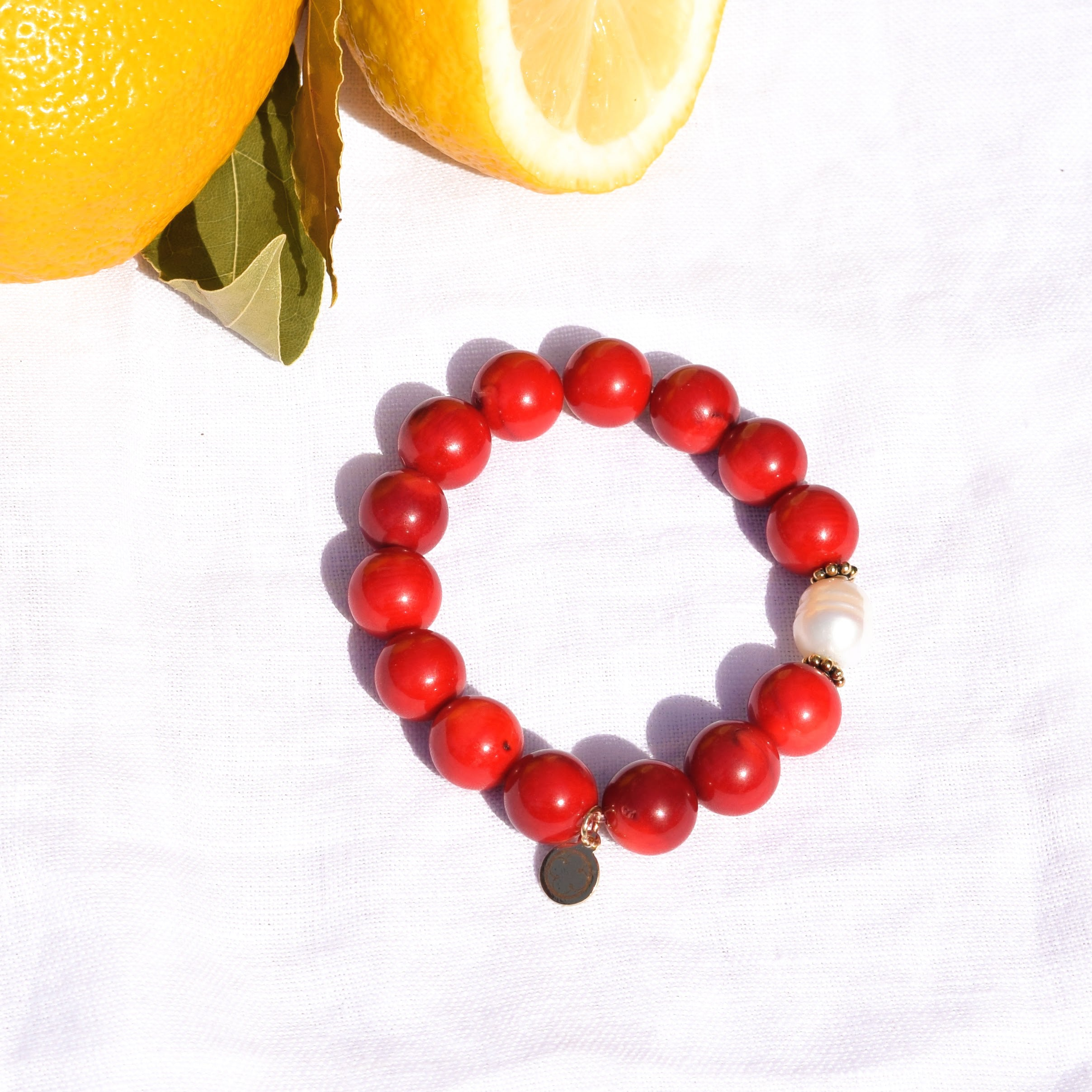 Red Coral with Freshwater Pearl - Oriana Lamarca LLC