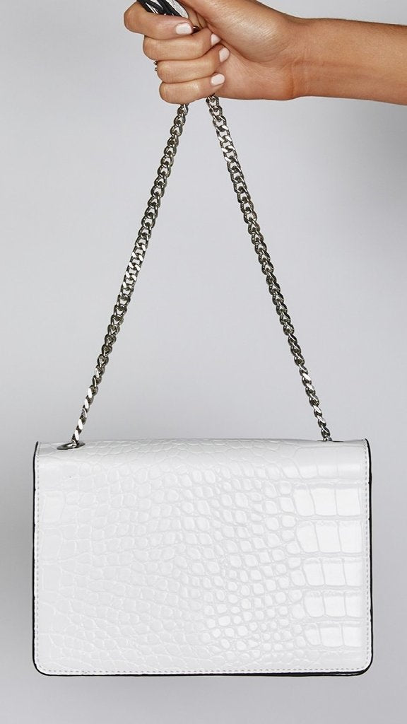 Roonery Shoulder Bag White Croc