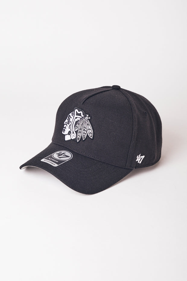 1-MCK7391DB-Black-Hat-Nhl-crest-high-crown-chicago-Majestic-Live-clothing
