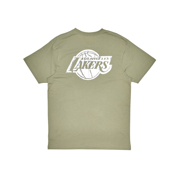 1-MNLL0034-Olive-Tee-Team-foil-logo-Los-angeles-lakers-Mitchell-and-ness-Live-clothing