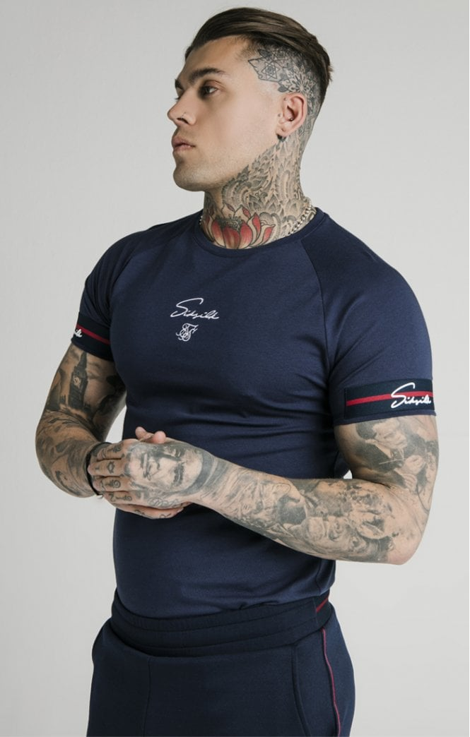 1-SS-17136-Navy-Tee-Raglan-tech-exposed-tape-Siksilk-Live-clothing
