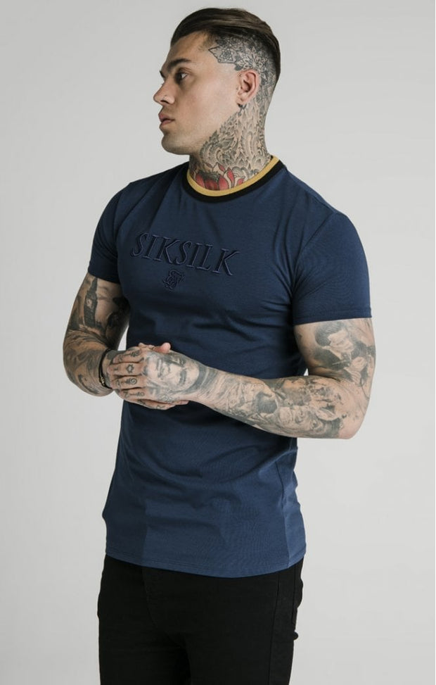 1-SS-18139-Navy-Tee-Straight-hem-gym-Siksilk-Live-clothing