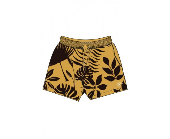 1-SS-18483-Yellow-Short-Leaf-print-swim-Siksilk-Live-clothing