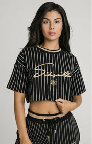 1-SSW-1684-Black-Tee-Baseball-stripe-crop-Siksilk-Live-clothing