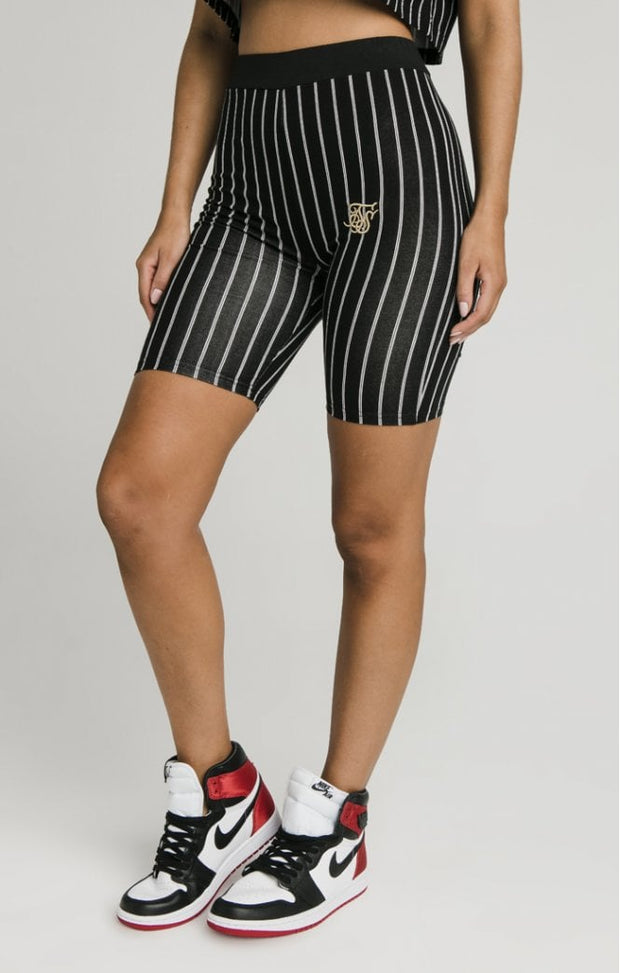 1-SSW-1685-Black-Short-Baseball-stripe-cycle-Siksilk-Live-clothing