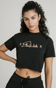 1-SSW-1822-Tee-Black-Colour-signature-crop-Siksilk-Live-clothing