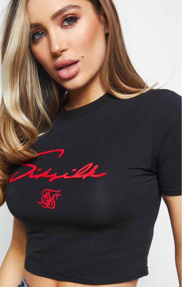 1-SSW-2213-Black-Tee-Flock-crop-Siksilk-Live-clothing