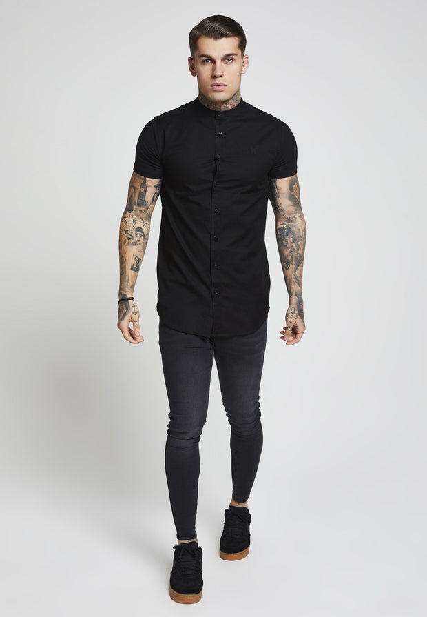 1_SS-11484_black_t-shirt_SikSilk_Grandad-Collar-Cont-Slv-Shirt