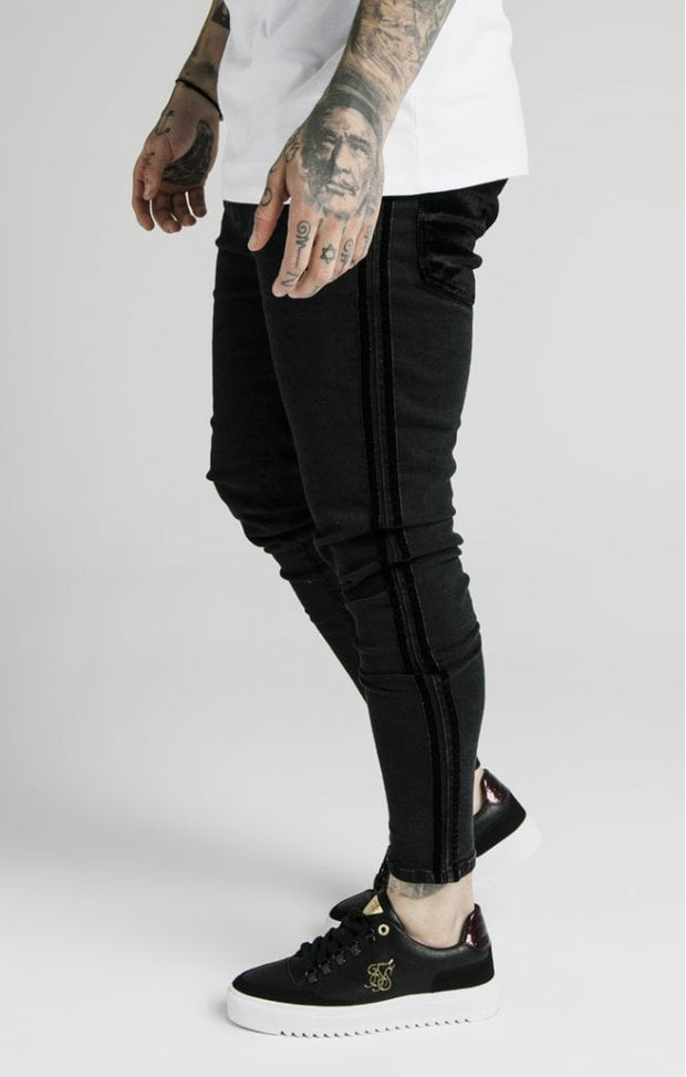 Skinny Velour Stripe Denims