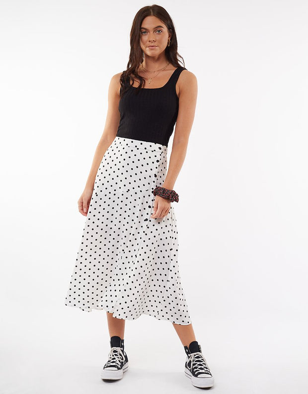 Polka Dot Midi Split Skirt