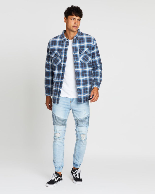 1-4053053.DEN-Denim-check-Jacket- Jack-shacket-Silent-theory-Stage-II-Pty