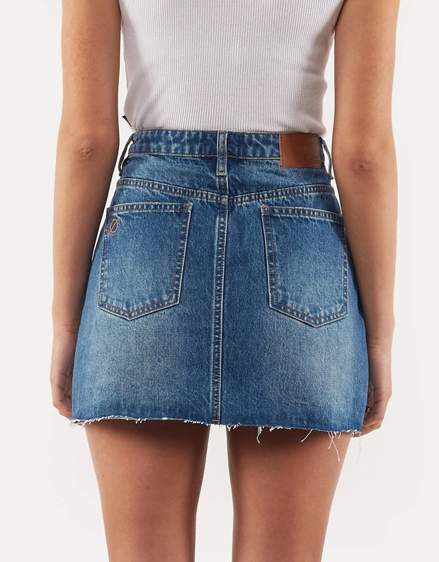 Leading Denim Distressed Skirt