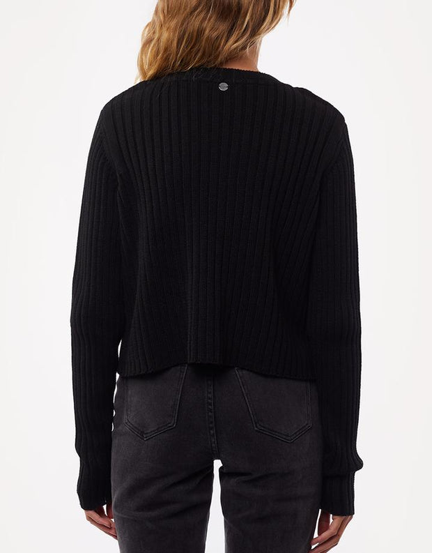 Ribbed Cropped Cardi Black