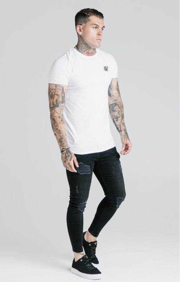 Straight Hem Gym Tee White