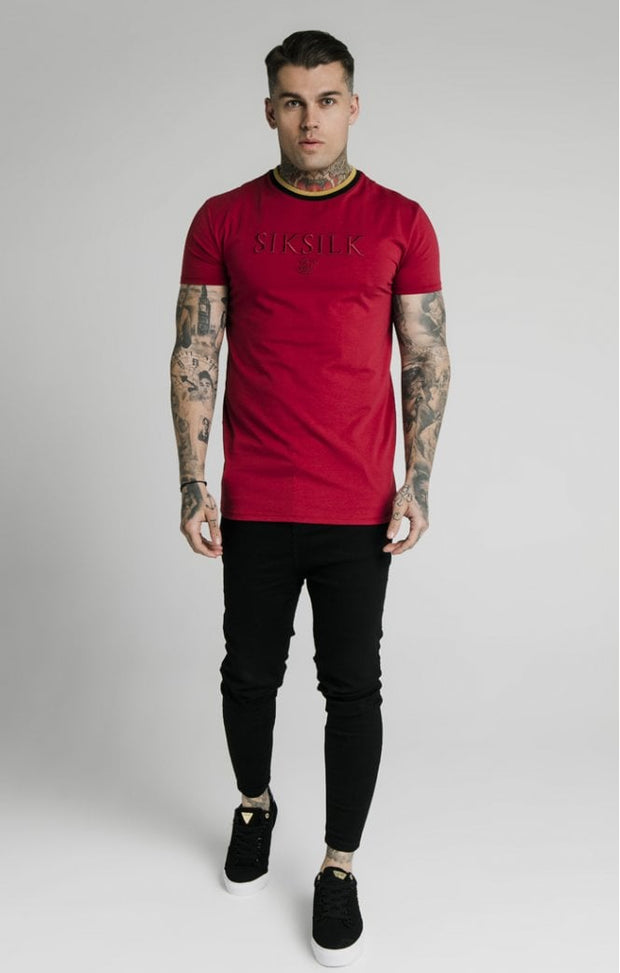 Straight Hem Gym Tee Red Gold & Black