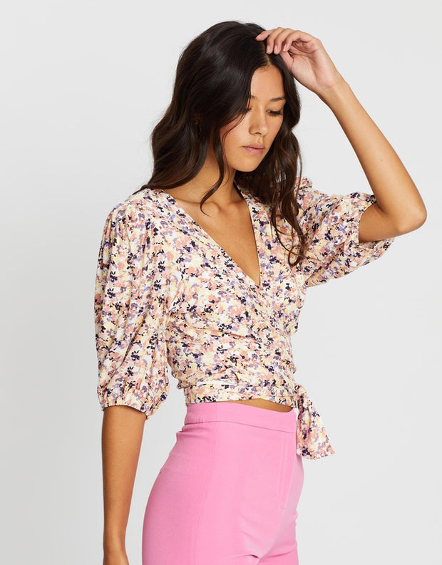 Smudge Floral Wrap Top