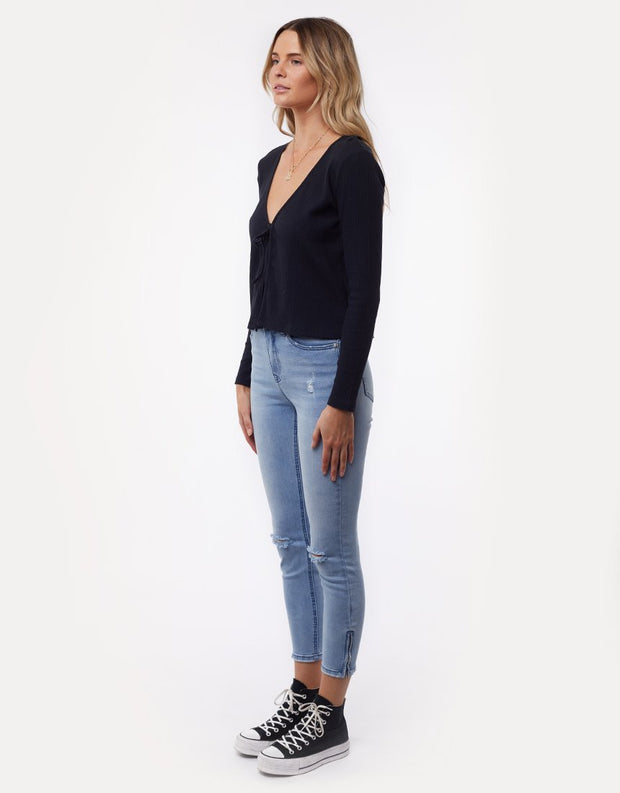 Tie Up Ribbed Cardi Black
