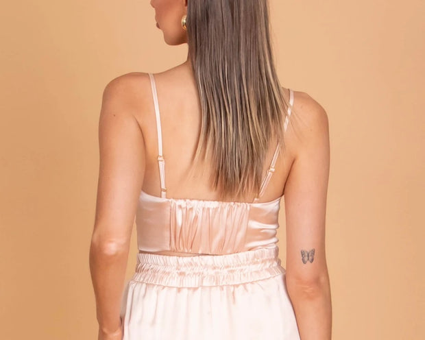 Mariah Satin Top - Nude