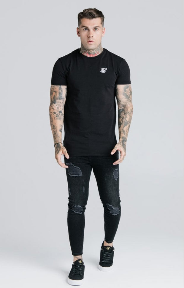 Straight Hem Gym Tee Black