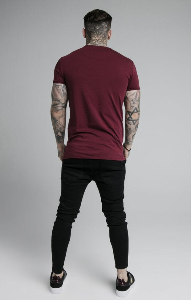 Straight Hem Gym Tee Burgundy