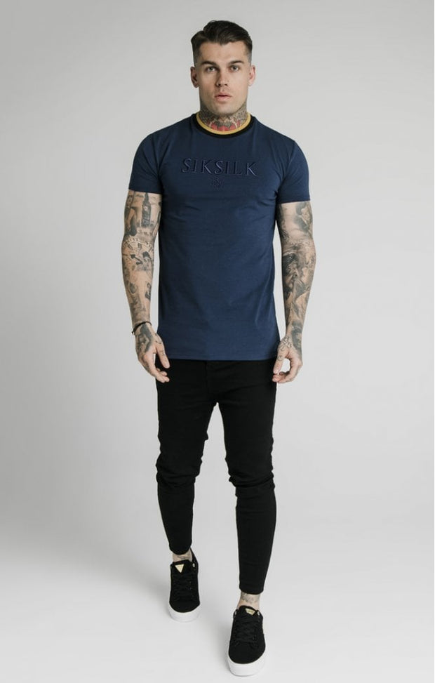 Straight Hem Gym Tee Navy Gold & Black