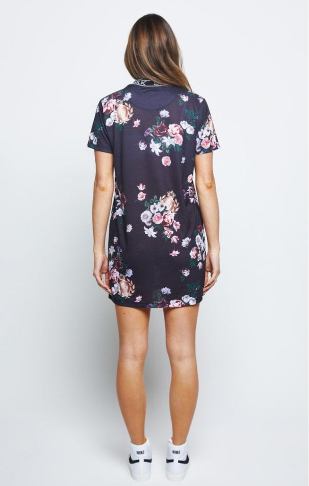 Prestige Floral Tee Dress - Black