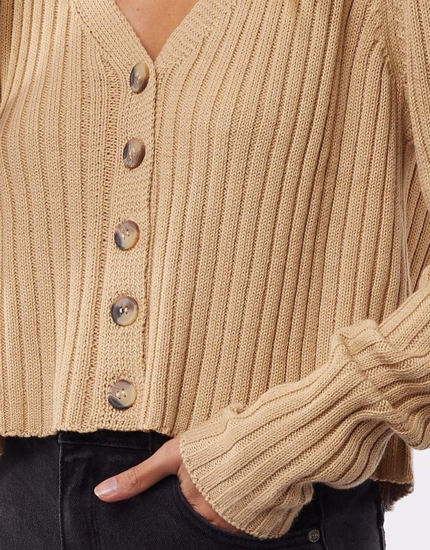 Ribbed Cropped Cardi Cream