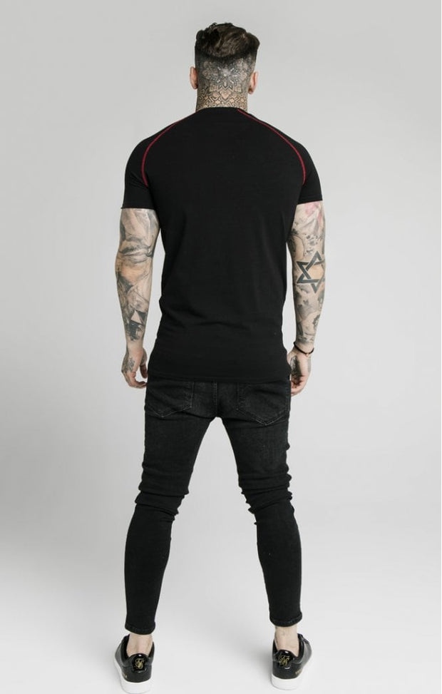 Cover Stitch Raglan Gym Tee - Black & Red