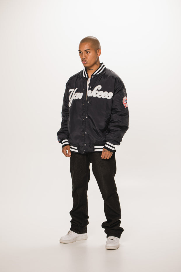 NY Yankees Traditional Wordmark Bomber Jacket - Navy
