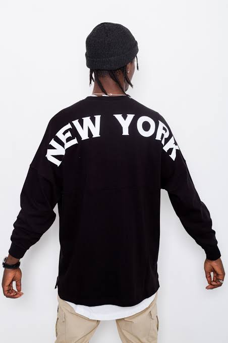 NY Yankees Rando Oversized LS Tee - Black