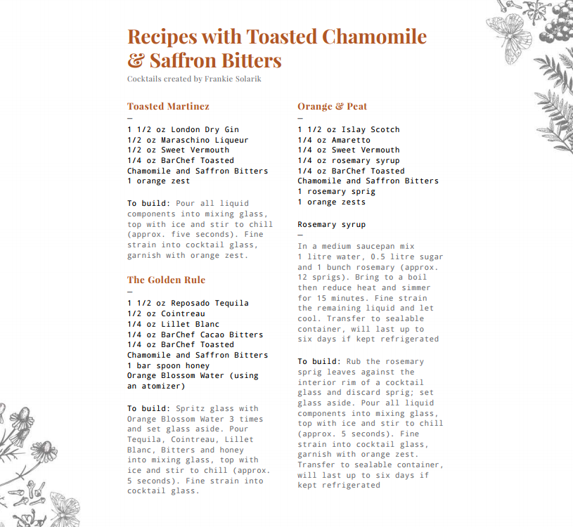 Bar Chef Toasted Chamomile & Saffron Bitters Recipes