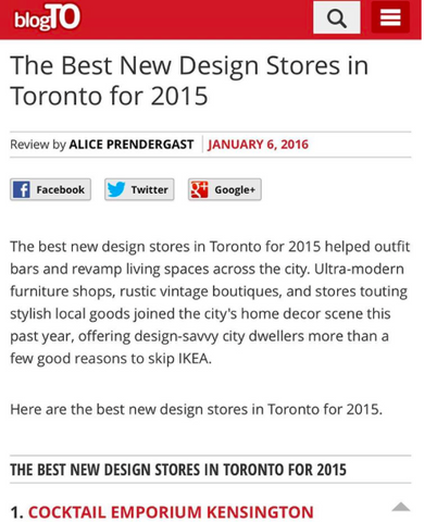 BLOGTO: THE BEST NEW DESIGN STORES IN TORONTO FOR 2015