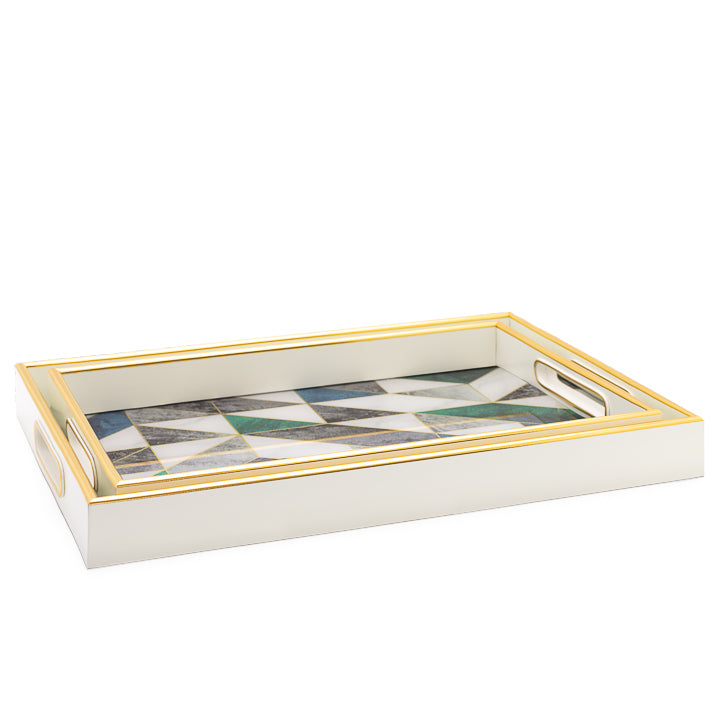 Gold Trim Geometric Marble Tray