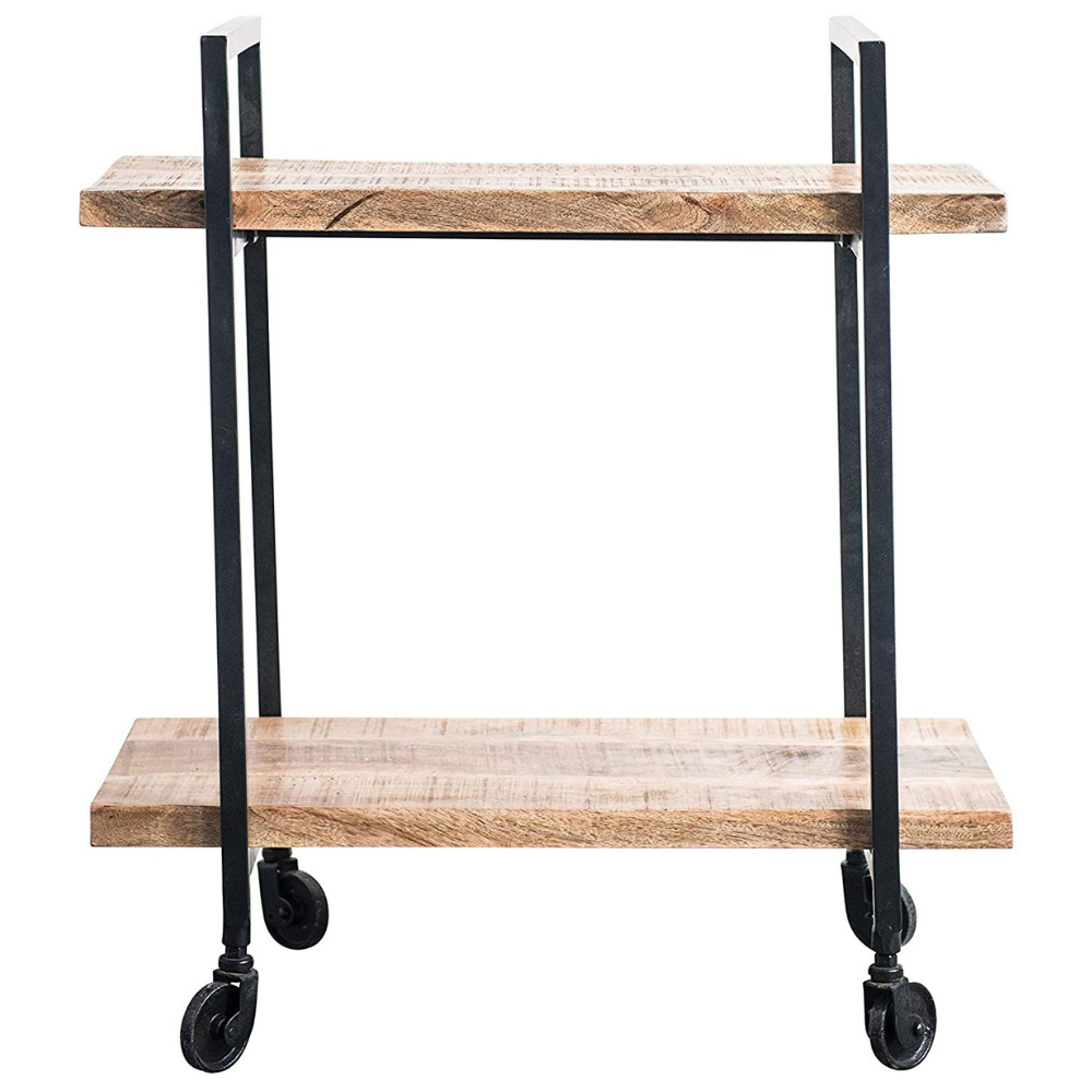 Metal + Mango Wood 2-Tier Bar Cart