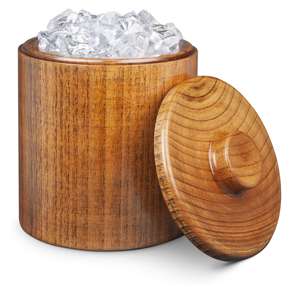 Solid Wood Ice Bucket with Lid