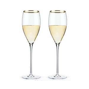 Belmont Gold Rim White Wine Set of 2