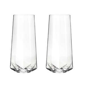 Faceted Stemless Crystal Champagne Flutes Set of 2