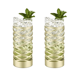 Gold & Crystal Patterned Highball Glasses Set of 2