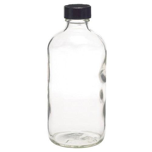 8 oz. Glass Bottle with Black Cap